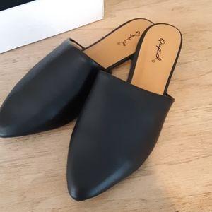 Flat Black Mule Slip Ons